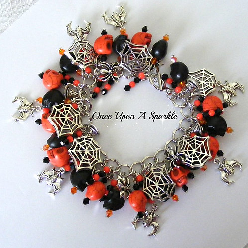 Halloween orange & black skulls cobwebs spiders bats
