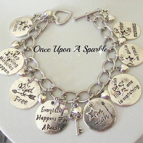 antique silver positive message pendants stars & hearts