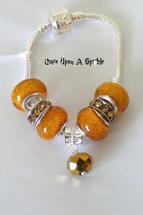 Bracelet - Burnt Orange gold ball
