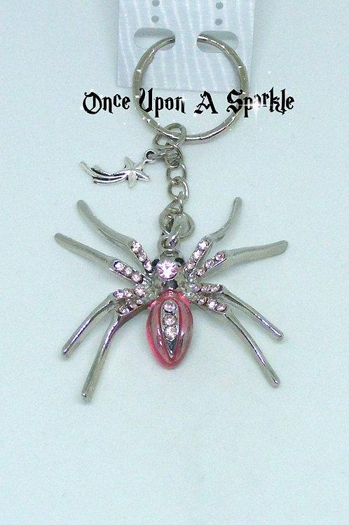Pink enamel & pink rhinestone spider key ring