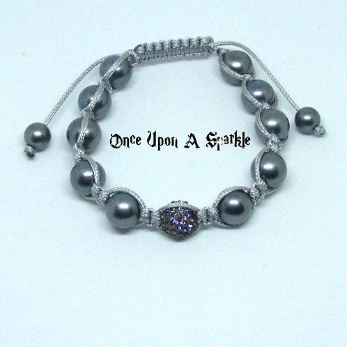 Grey beads grey cord central cz disco ball bead