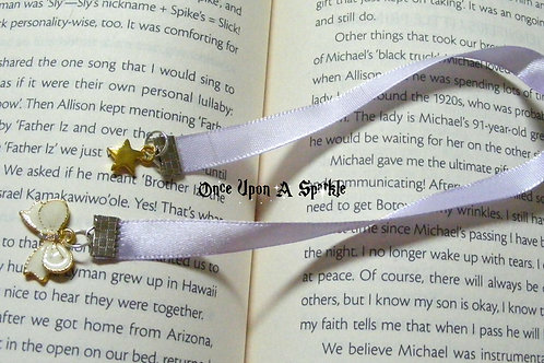 white ribbon bookmark with cream bow