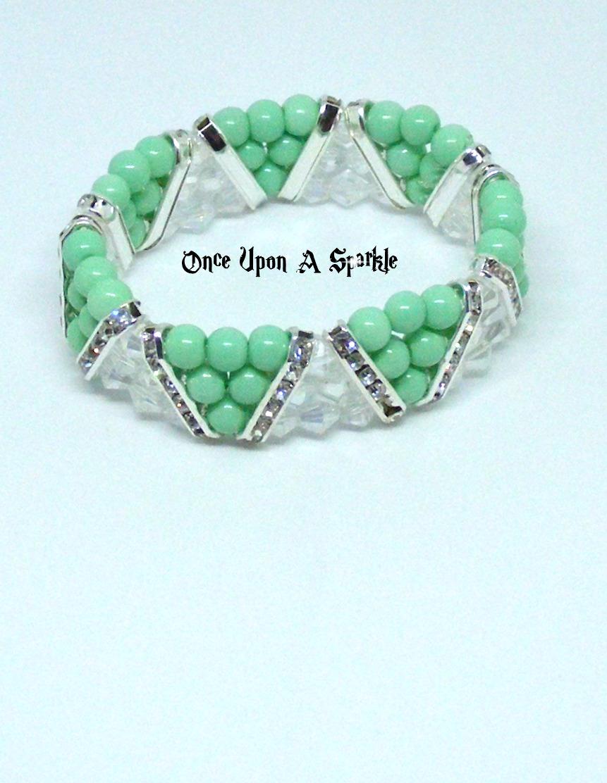 Bracelet stretch triangle mint green & clear