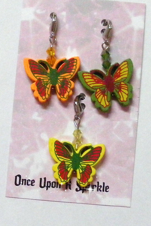 Zipper Pulls - 3 Butterflies orange green yellow