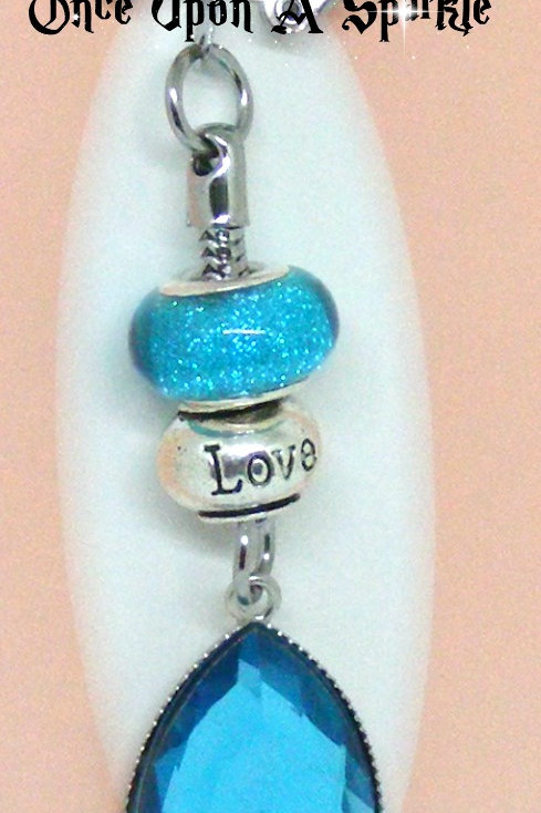 Aqua Tear Drop Love Bead Key Ring