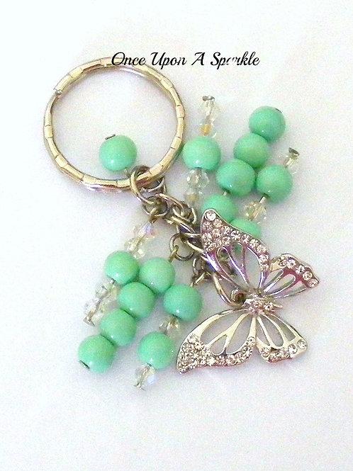Mint Green Butterfly Key Ring