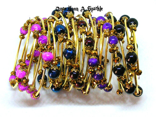 Group wrap gold & bead memory wire