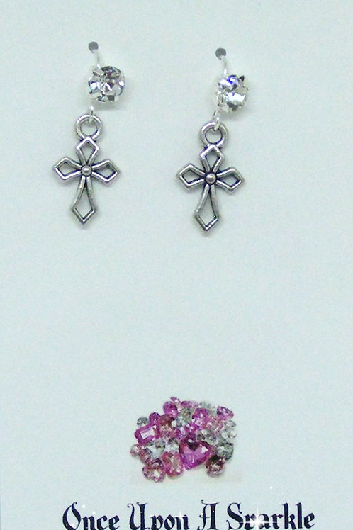 Rhinestone Hook Earrings with Hollow Crosses