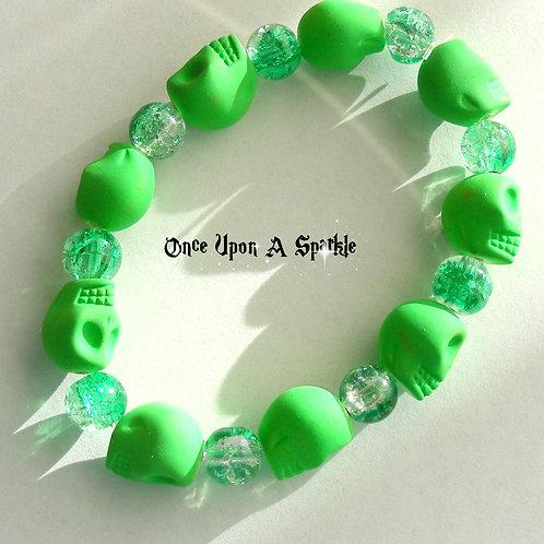 Bracelet - Stretch Green Fluro Skulls