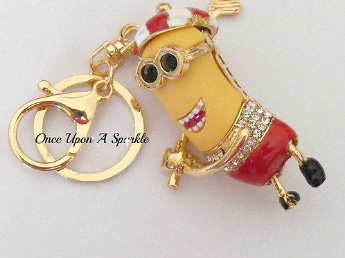 Key Ring/Bag Dangle - Minion Golfer Red