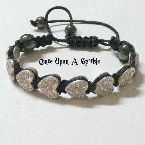 Bracelet - Black Shamballa Crystal Hearts