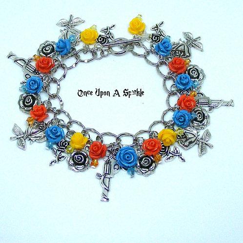 Bright Guns & Roses Charm Bracelet yellow blue orange