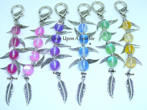 Bag Dangles Frosted Flash Angel Wings Feather