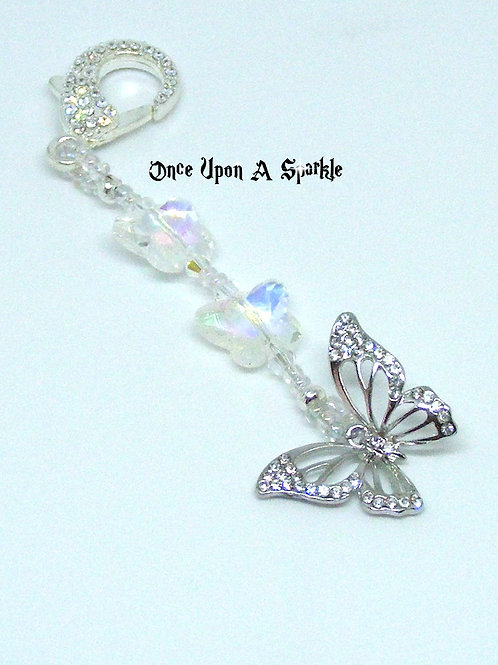 silver crystal butterfly with rhinestone clasp
