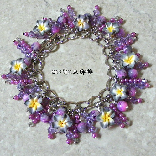 Lavender sparkly beads with grey frangipani