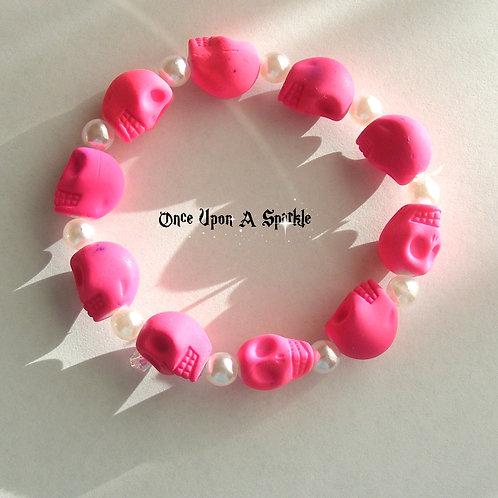 Bracelet - Stretch Pink Fluro Skulls