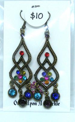 Earrings gypsy double tear drop stained glass