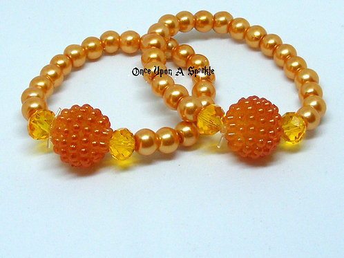 "Stretch ""Buddy"" Bracelets Orange Pearl & Bubble"