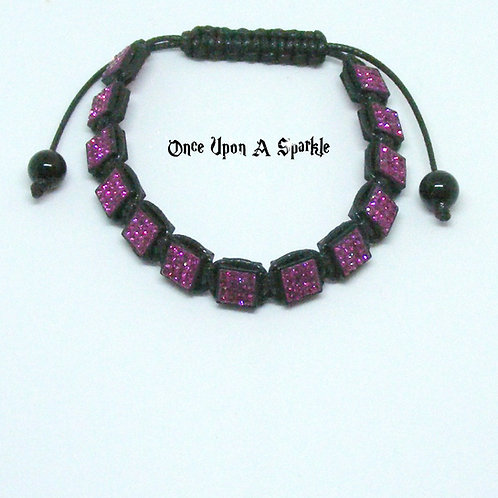 Dark Pink Crystal Square Shamballa Bracelet
