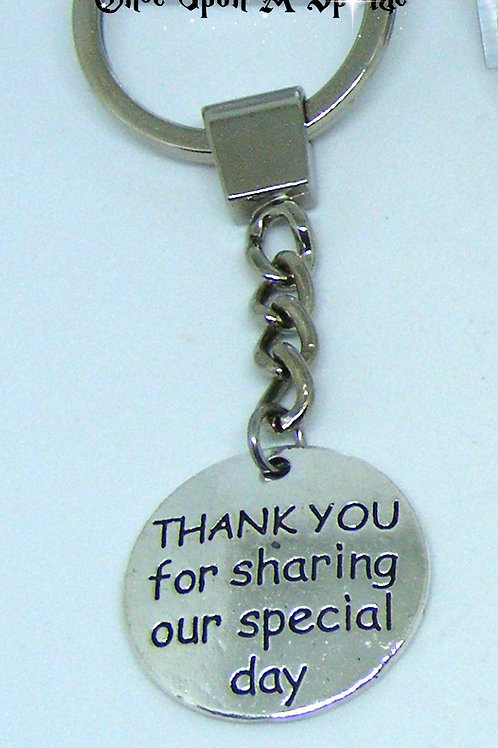Thank you for sharing our special day key ring for men