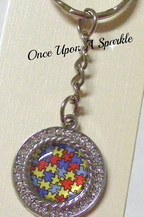autism jigsaw colourful pendant with rhinestones