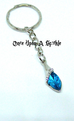 Key ring aqua Austrian crystal
