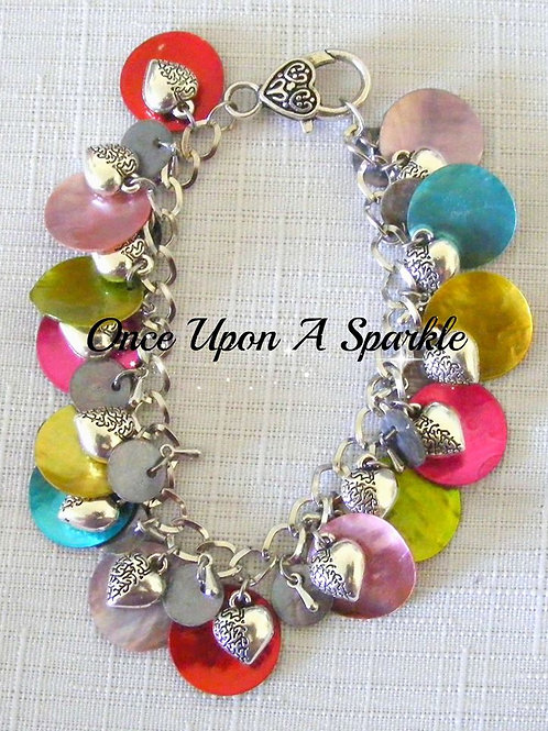 multi-coloured mother of pearl shells with 3D hearts
