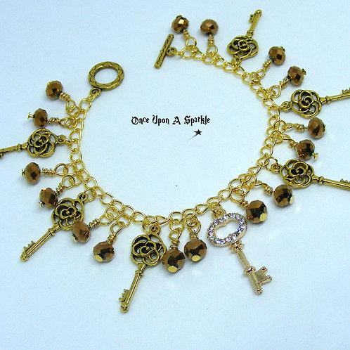 Gold Key Charm Bracelet