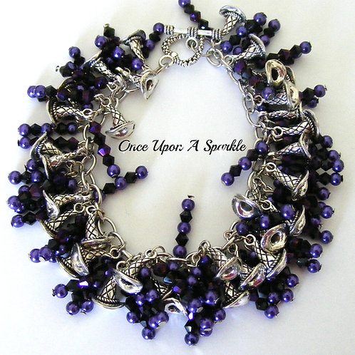 deep purple sparkly beads & pearls with antique silver witches hats