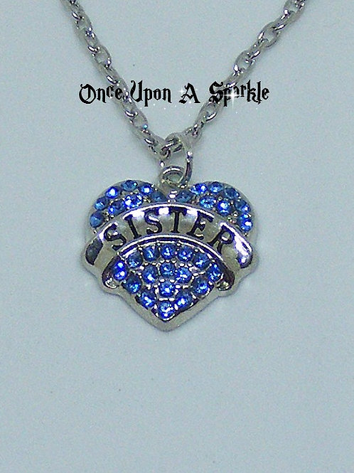 Sister Heart Blue Crystals Necklace