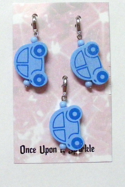 Zipper Pulls - 3 Blue Cars