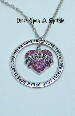 Necklace Sister dream hope trust love pink