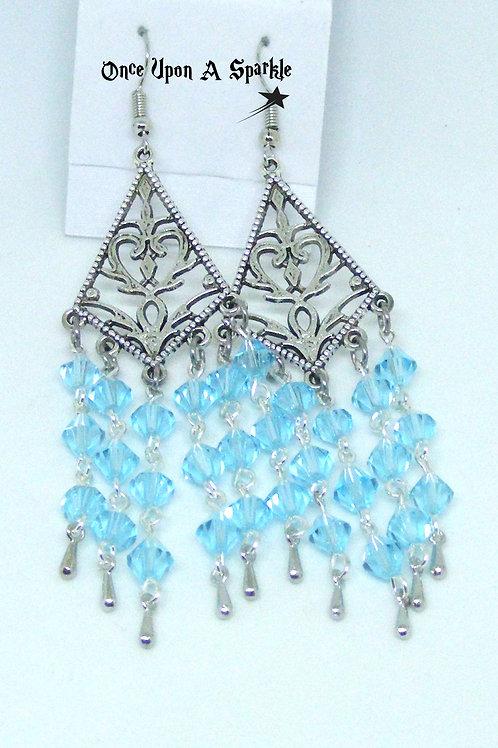 Sparkly Aqua Chandelier Earrings