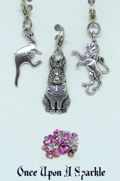 Kangaroo, Rabbit and Lion Zipper Pulls