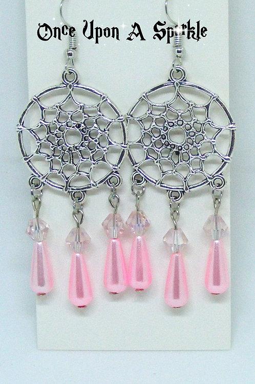 Dreamcatcher Earrings with pink teardrops