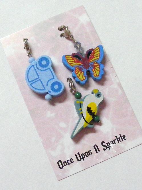 Zipper Pulls Blue car Butterfly Parrot in teal