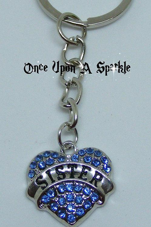 Key Ring Sister Blue Crystal Heart