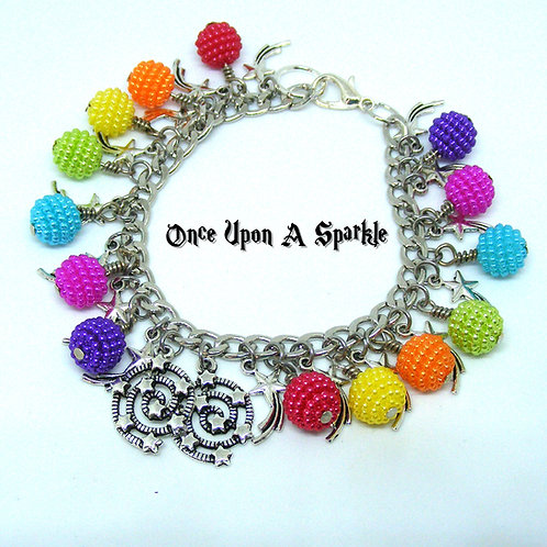 Rainbow Bubble Beads with Star Spirals and Shooting Stars