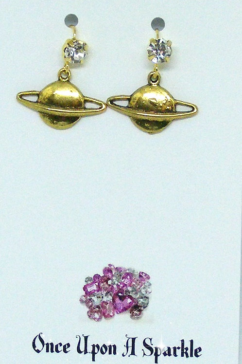 gold plated rhinestone hook earrings with planet charms