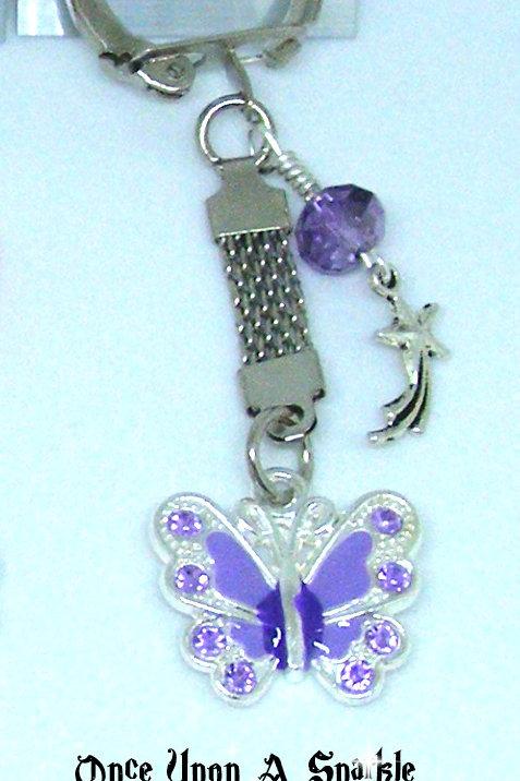 Purple Butterfly Mesh key ring