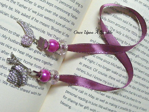 purple ribbon bookmark with best friends heart