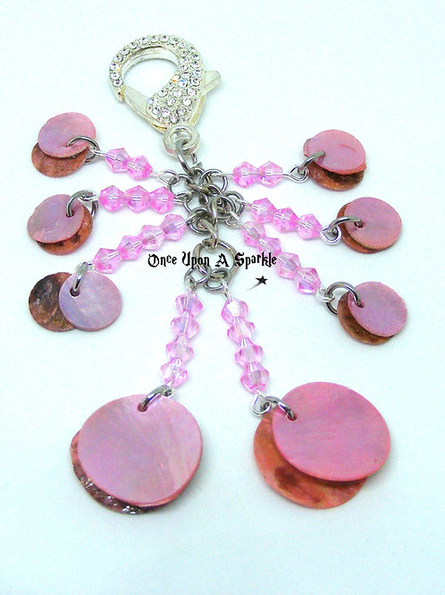 Pale Pink Bicone & Shell with Rhinestone