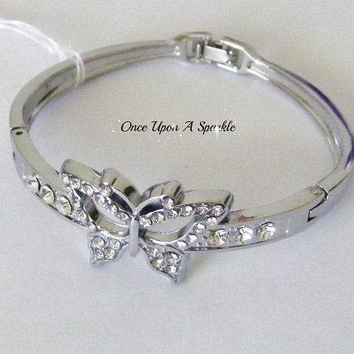 Bracelet - Silver Bangle with Butterfly & Crystals