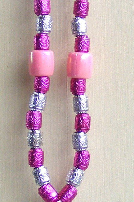 Necklace - Pink Ribbon Hot Pink & Silver Barrels