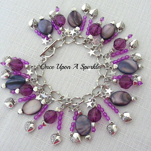 deep purple mother of pearl beads sparkly purple beads 3D silver hearts