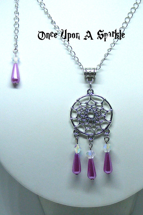 Dreamcatcher Necklace with Purple Teardrops
