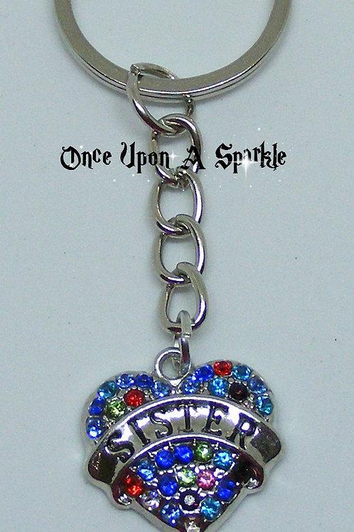 Key Ring Sister Heart Multi-coloured