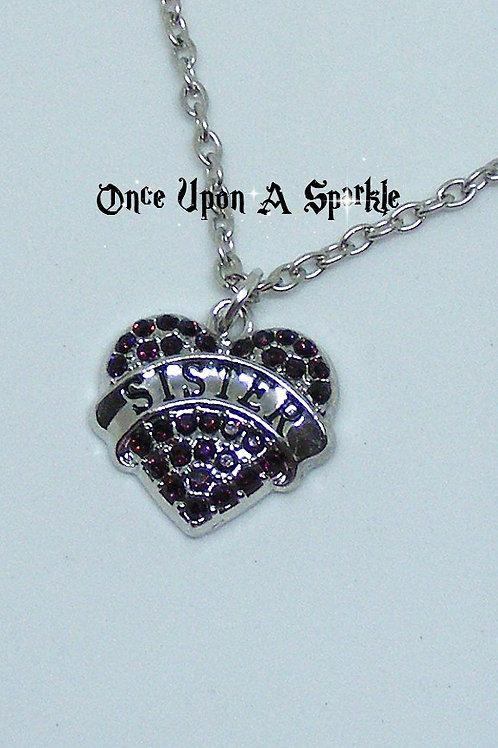 Sister heart deep purple crystal necklace
