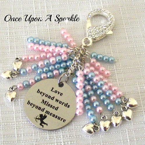 Bag Dangle - pink & blue