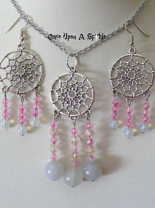 Jewellery Set - Dreamcatcher Opalite & Pink